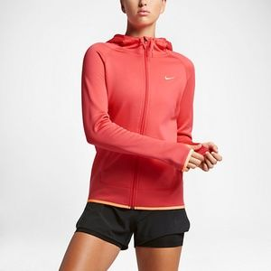 Womens Full-Zip Therma Training Hoodie Peach Red